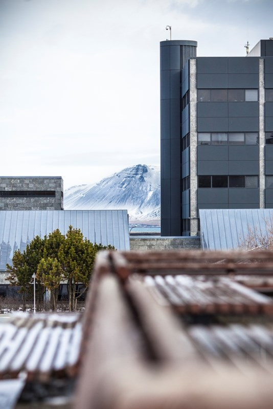 Central Bank of Iceland and the mountain Esja