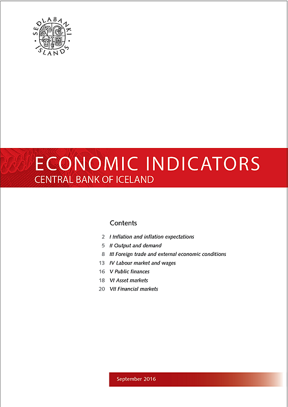 Cover of Economic Indicators September 2016