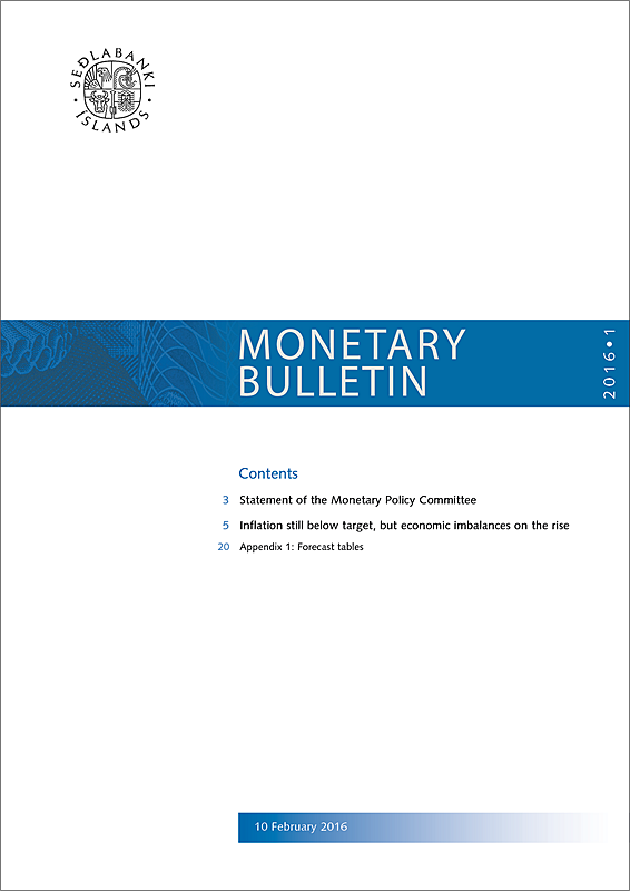 Cover of Monetary Bulletin 2016/1